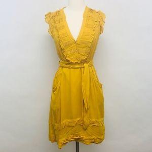anthropologie | odille mustard yellow ruffle dress